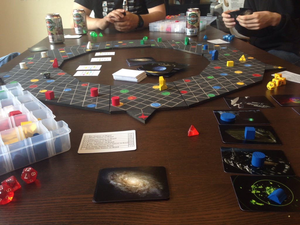 Had fun trying out our friend brother's prototype galaxy race game.